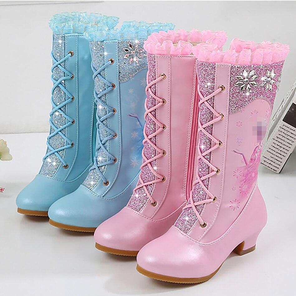 Autumn And Winter New High Fashion Boots Girls Princess High-heeled Children Sequins Snow Boots Elsa Princess Boots