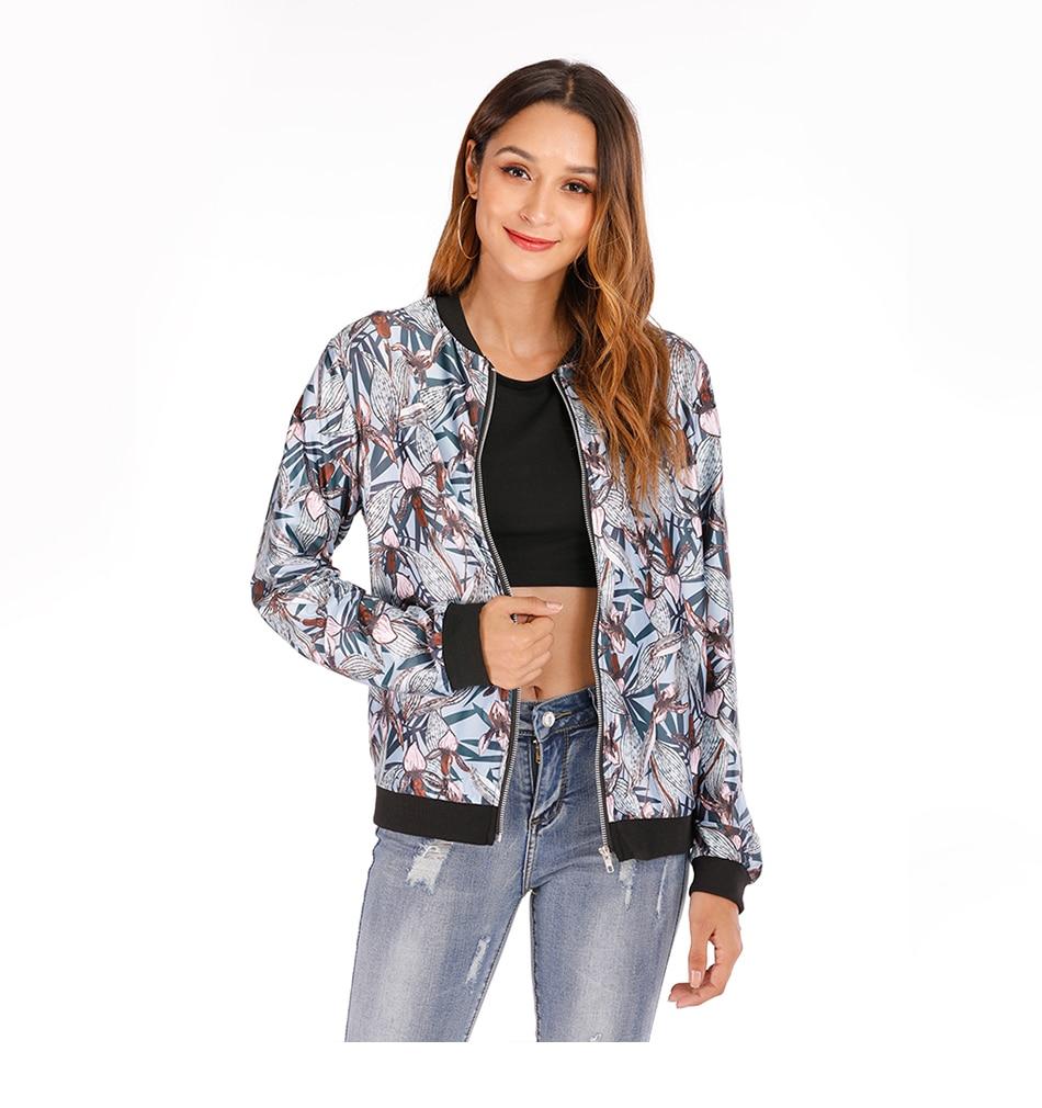 Print Bomber Jacket Women Flowers Zipper Up Retro Coat Spring Summer Long Sleeve Basic Plus Size Short Biker 41
