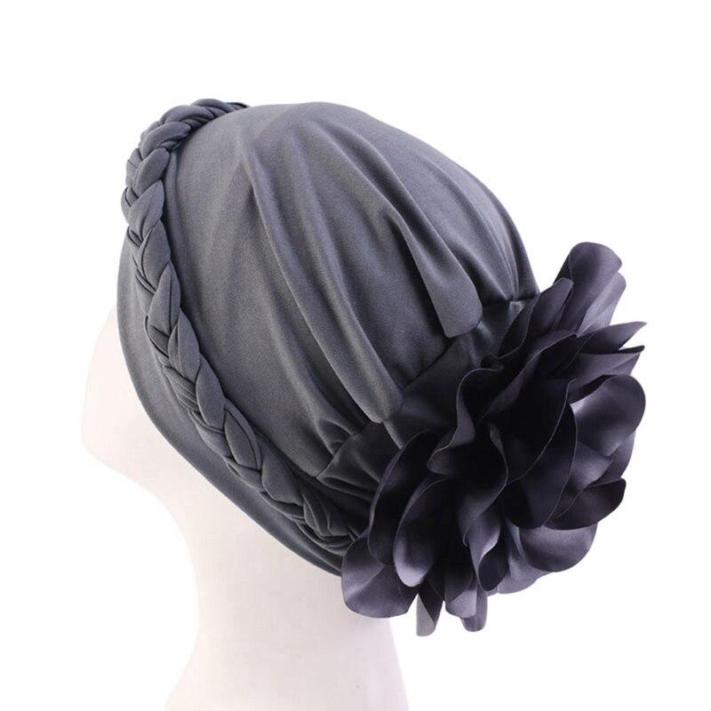 New Women Hat Arab Indian Muslim Flower Hijab Headwrap Hat Headwear Islamic Turban Elastic Glitter Abaya Turban Inner Cap