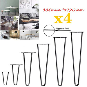 Image 1 - 4Pcs/Lot Table Legs Metal  Hairpin Furniture Ndustrial Style Steel Pre Drilled Holes For Easy Installation,415mm