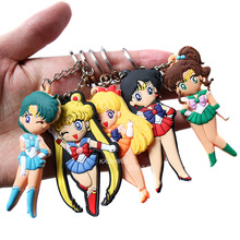 Sailor Moon Anime Cartoon Keychains Action Toy Figures Key Chain Pendant Collection Model Toy Valentines Day Gift