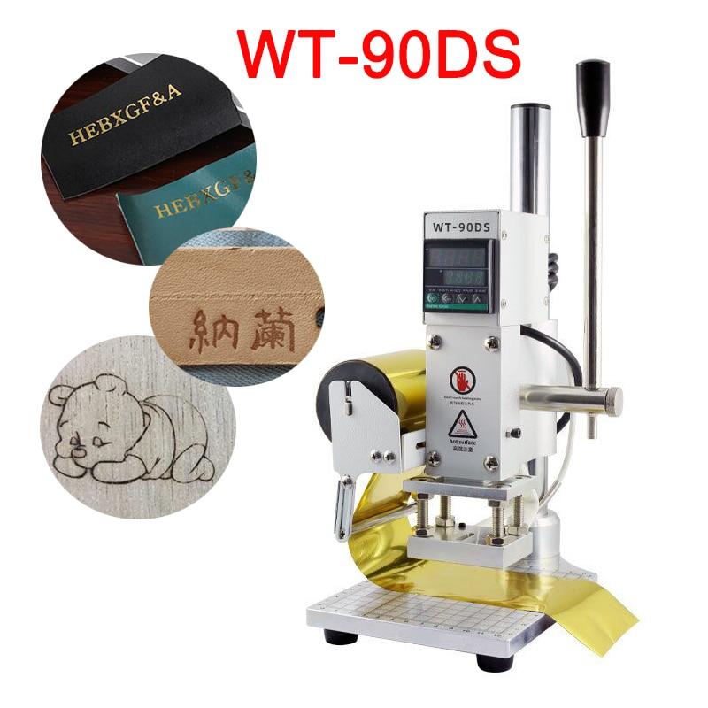 WT-90DS Ручной цифровой тепла Пресс машина 300W ПВХ кожа с картами эталонных древесины изготовленным на заказ логосом тиснение машина для горяче...