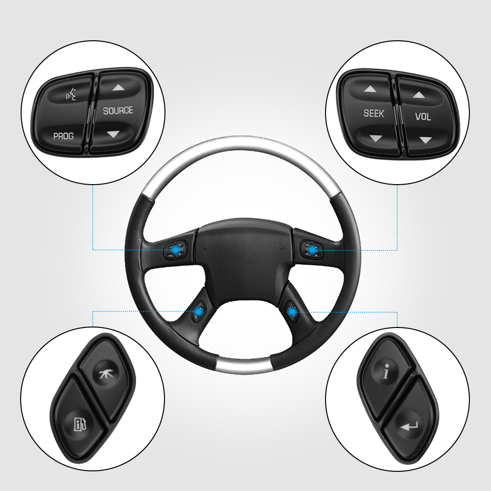 X AUTOHAUX Steering Wheel Switch Control Button Information Return for Buick Rainier 901121