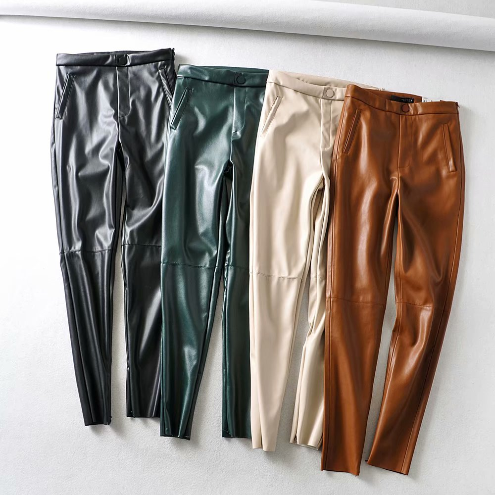 Tangada Women Green Black Skinny PU Leather Pants Stretch Zipper Female Autumn Winter Pencil Pants Trousers 6A344