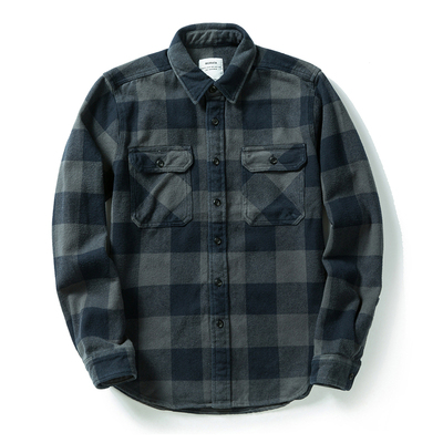100% cotton heavy weight retro vintage classic red black spring autumn winter long sleeve plaid shirt for men women 8