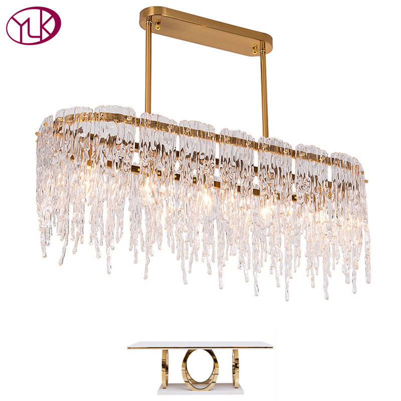 New Modern Chandelier Lighting For Dining Room Rectangle Kitchen Island Gold Glass Lamps Large LED Cristal Light Fixtures