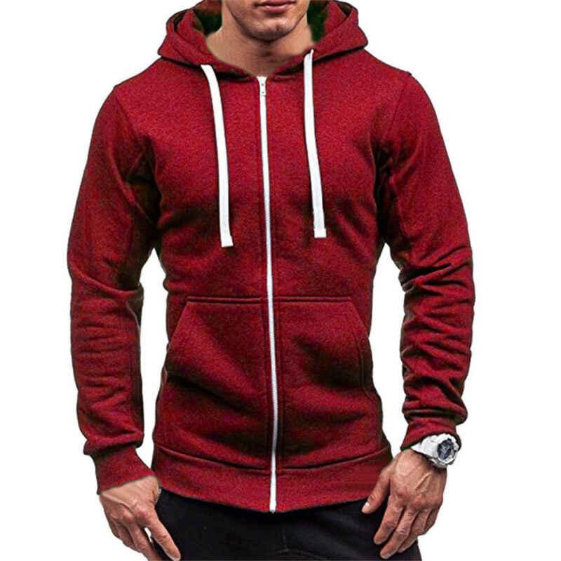 2019 mode Männer Hoodies Herbst Winter Warm Einfarbig Tops Zipper Up Mit Kapuze Klassische Sport Kühlen Sweatshirt Hüfte Jacke Mantel