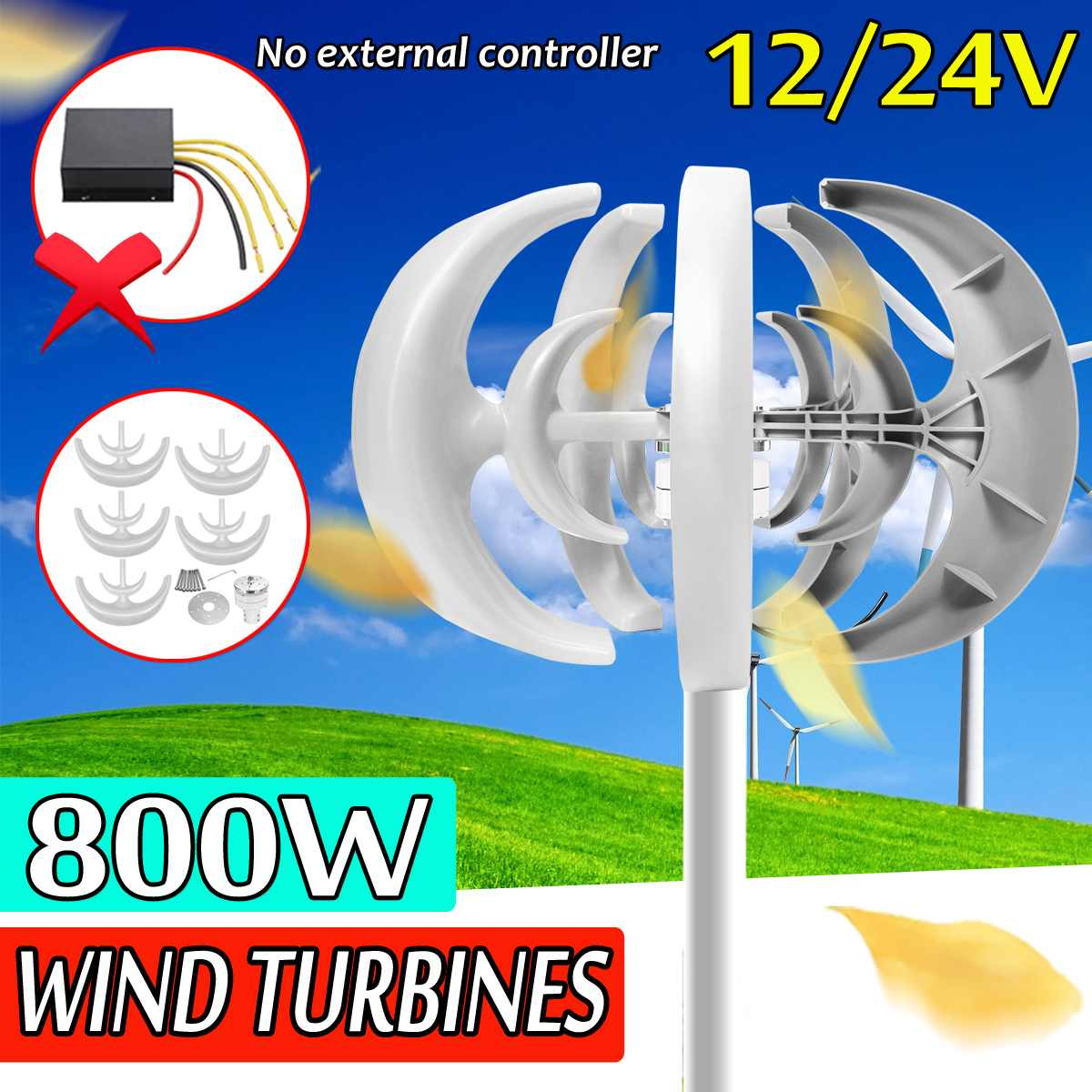 800W DC 12/24v Wind power generator 5 blades wind For Home Streetlight Use Alternative Energy Vertical axis double-helix