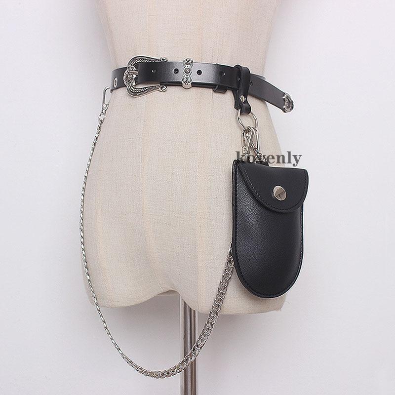 Small Women Bags Trendy Coat Leather Belt Bag Chain Streetwear Fittings Fashion Waist Bag Lipstick Pocket Mini Female Fanny Pack