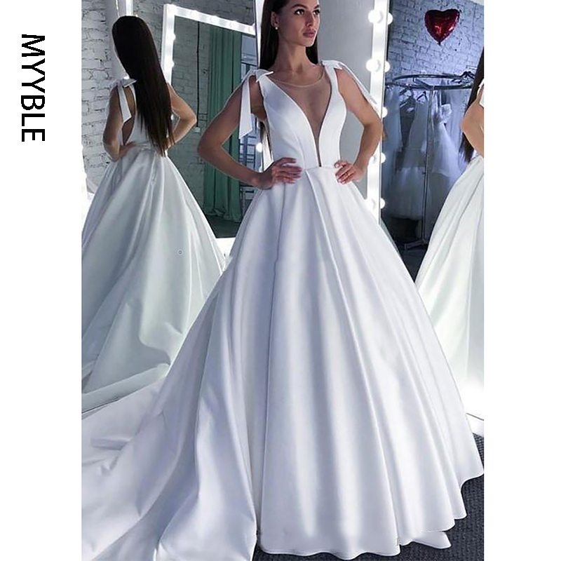 MYYBLE Wedding Dress 2020 Lace Scoop A-Line Elegant Satin Long Princess Vintage Bridal Dress Sexy Wedding Gown Custom Made