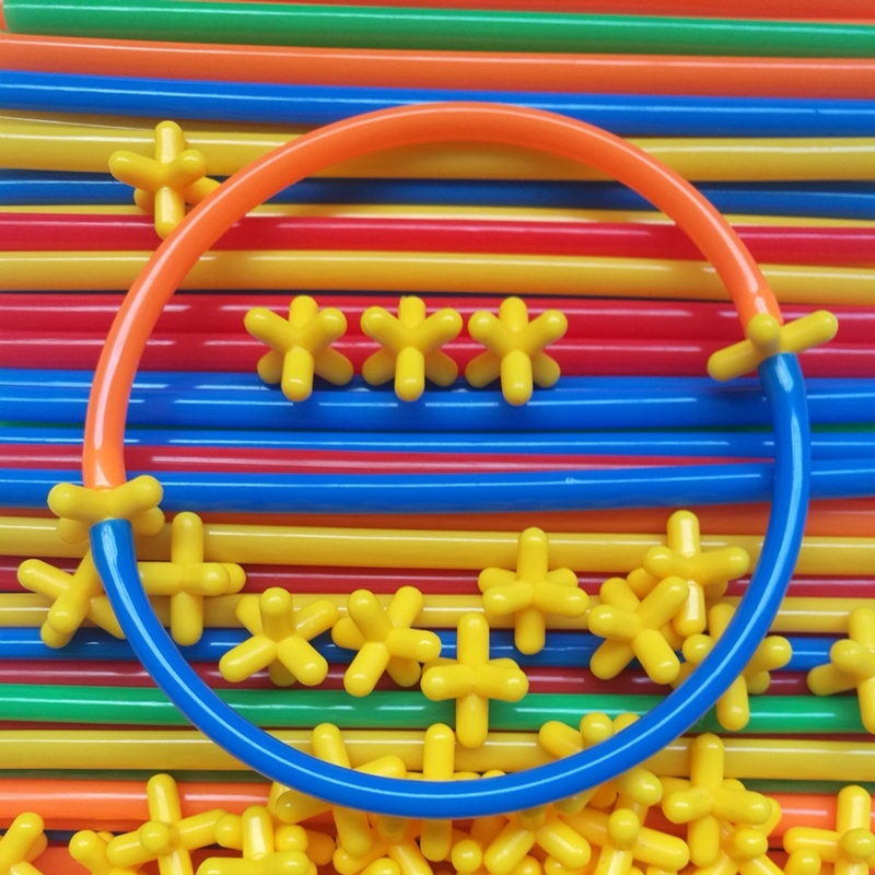 100-300PC Kids 4D Straw Building Blocks Joint Construction Development Toys