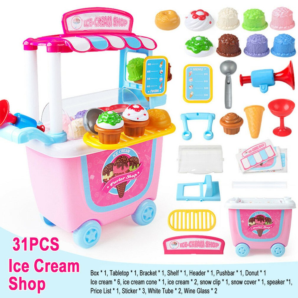 Mini Ice Cream Candy Trolley House Play Toys Candy Car Ice Cream Candy Cart House Brain Game Kids Toys Children's Gift Toys image