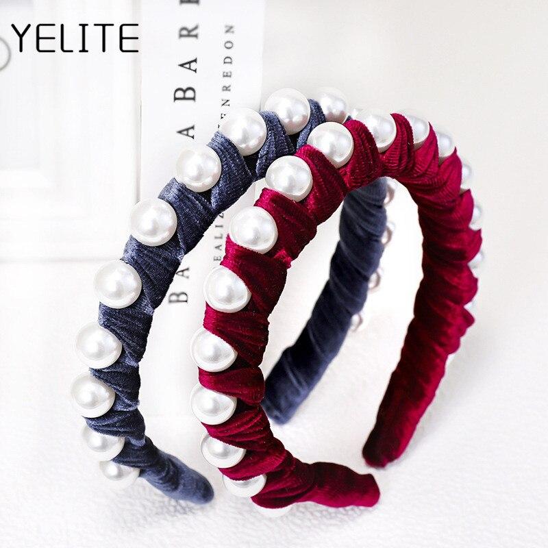 YELITE Autumn Twist Headband Velvet Pearl Hairband for Women Hair Bands Accessories Elegant Cotton Hair Hoop Bezel Girl Headwear