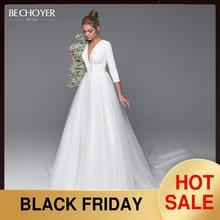エレガントなvネックバックレスのウェディングドレスがchoyer EL02サテンaラインコート列車の王女の花嫁カスタマイズvestidoデnoiva