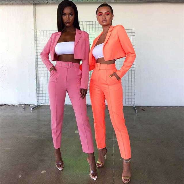 Otoño e Invierno Color neón mujeres abrigo cárdigan mujer 2dos piezas trajes de oficina Rosa señora ropa de negocios calle Casual conjuntos