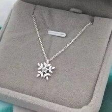 XIYANIKE 925 Sterling Silver Snowflake Diamond Zircon Pendant Necklace Female Fashion Short Clavicle Chain Jewelry Charm Couple