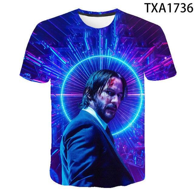 2020 New Summer Movie John Wick  3D T shirt Men Women Children Fashion Streetwear Boy Girl Kids Printed T-shirt Cool Tops Tee 4
