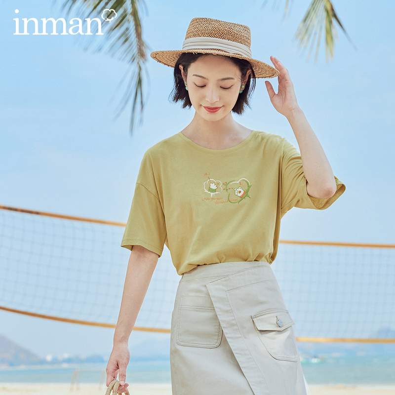 INMAN 2020 Summer New Arrival Loose Literary All-match Pure Cotton Printed Short Sleeve T-shirt