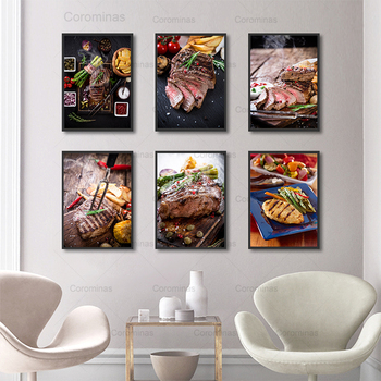 Modern Food Poster Appetite Steak Modular Posters and Prints Canvas Painting Delicious Tomato French for Dining Room Decoration image