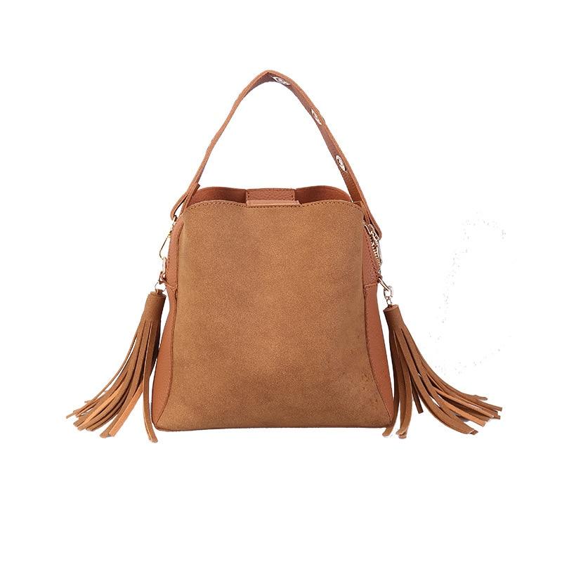 vip  Fashion Scrub Women Bucket Bag Vintage Tassel Messenger Bag High Quality Retro Shoulder Bag Simple Crossbody Bag Tote
