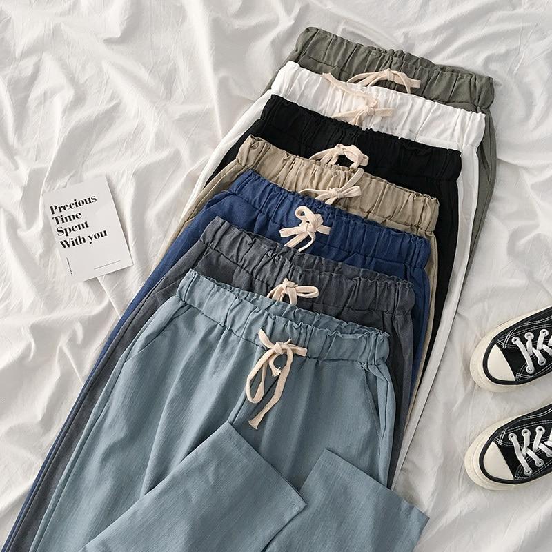 Spring Harajuku Harem Ankle Length Pant Women Casual Safari Style Blue Black Drawstring Casual Trouser Female Fashion Bottoms