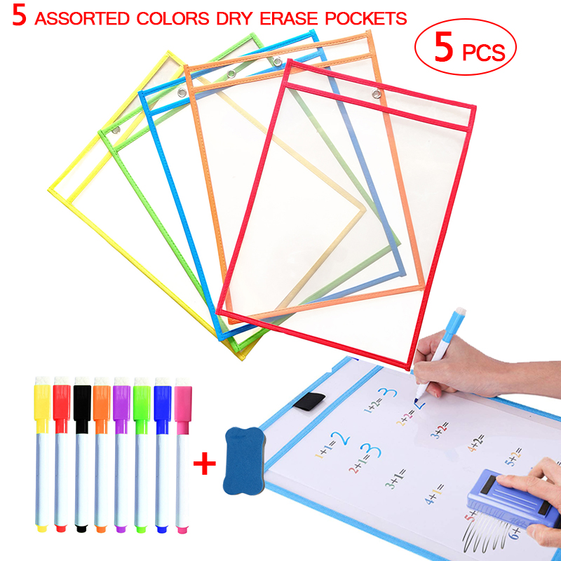 Reusable Transparent Dry Erase Pockets Sleeves PP File With Pen Write Wipe Drawing Whiteboard Markers Used for Teaching Supplies
