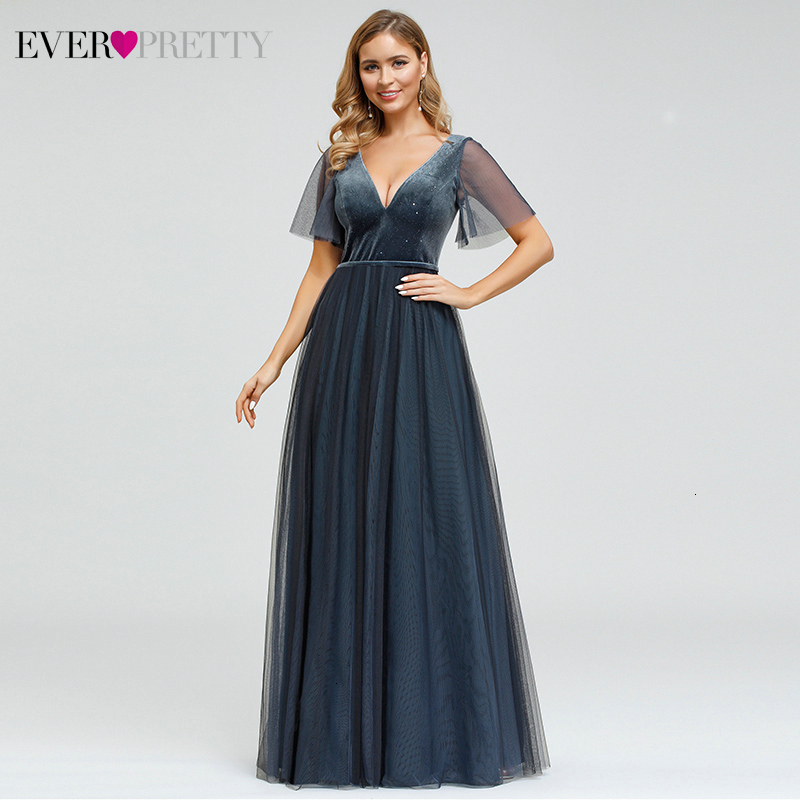 Sexy Dusty Blue Prom Dresses Ever Pretty A-Line Deep V-Neck Short Sleeve Sparkle Velour Evening Party Gowns Gala Jurken 2020