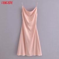 Tangada Women Beige Satin Dress Sleeveless Backless 2021 Fashion Lady Elegant Dresses QN172 2