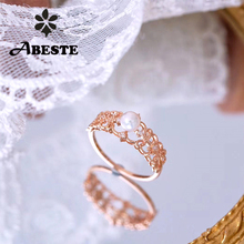 ANI 18K Rose Gold (AU750) Wedding Ring Fine Diamond Rings anillos mujer Engagement Natural Akoya Sea Pearl for Women