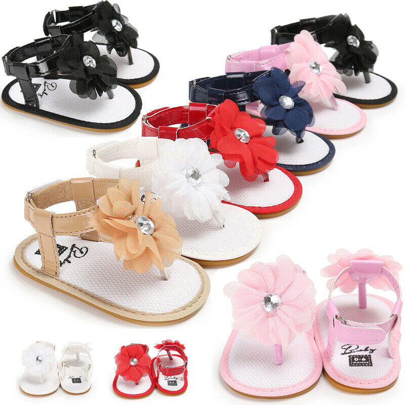 Hot Adorable Infant Baby Girl Soft Sole Sandals PU + Soft Silicone Toddler Summer Shoes Flower Sandal
