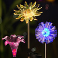 Топ 3 Упаковка солнечный светильник s садовый светильник украшение водонепроницаемый  изменение цвета  Одуванчик и Лилия и подсолнух