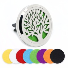 BOFEE Tree Of Life Aromatherapy Diffuser Vent Clip Air Freshener Silver Stainless Steel Car Essential Oil Locket Jewelry 38MM