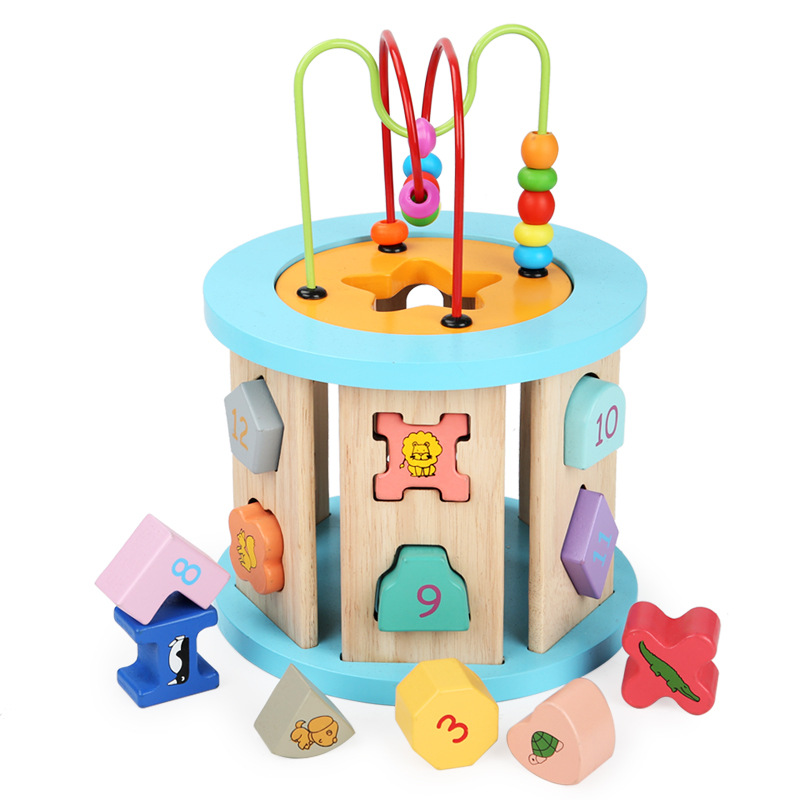Baby Animal With Numbers Bead-stringing Toy Beaded Bracelet Intelligence Round Infants Building Blocks Toy Early Education GIRL'
