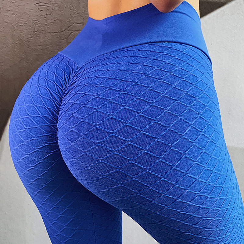 Blue Fitness Anti Cellulite Texture Leggings Women Pants Solid High Waist Workout Wrinkle Leggings Pants