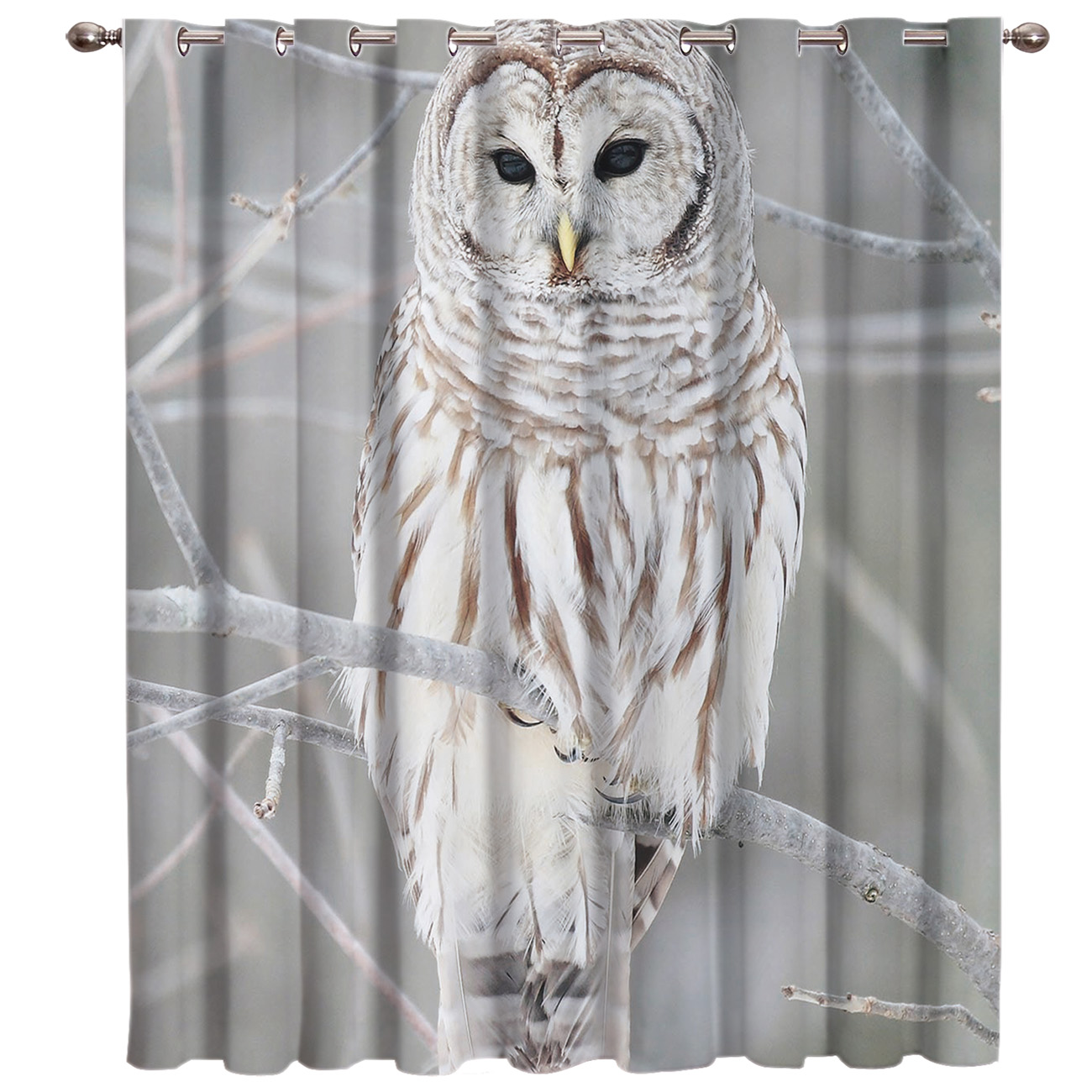 Winter Owl Standing On The Branches Gray Window Curtains Dark Curtain Lights Bedroom Kitchen Indoor Fabric Decor Swag Window