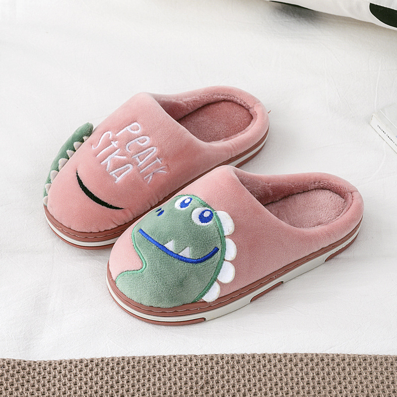 Kids Indoor Slippers Baby Winter Boys Girls Cartoon Dinosaur Print Home Non-Slip Cute Warming Shoes Kids Slippers For Girl