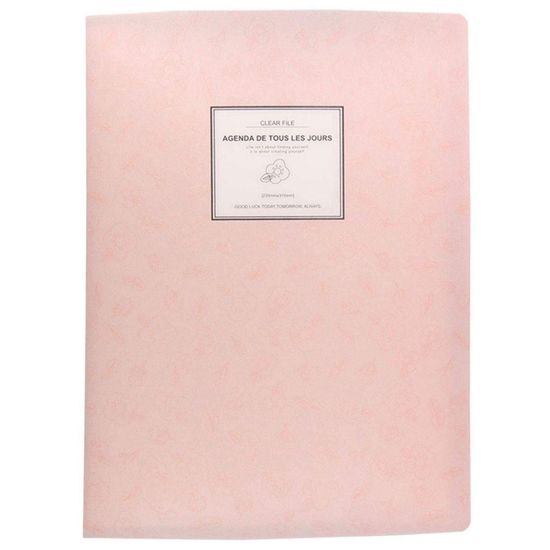 A4 Display Book Folder,Paper Storage Folder Plastic 20 Pockets(Pink)