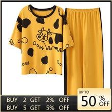 Vêtements d'intérieur Style dessin animé pour femmes, vêtements de maison, manches courtes, pantalons longues, ensemble Pj