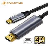 Cabletime usb c para displayport cabo 4 k 60 hz usb 3.1 tipo c thunderbolt 3 para dp 1.3 adaptador usb para dp uhd vídeo externo c031