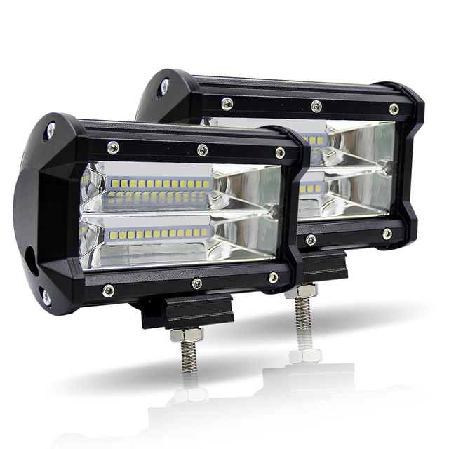 LED سيارة قضيب مصابيح عملي 5 بوصة 72 W المزدوج صف 6000 K الطرق الوعرة 4x4 القيادة ضوء 12 V الضباب ضوء ل جرار شاحنة قارب UTV SUV مصابيح