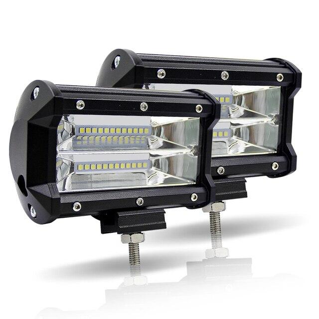 LED samochodów robocza listwa oświetleniowa 5 Cal 72 W podwójny rząd 6000 K Offroad 4x4 jazdy światła 12 V przeciwmgielne światła do ciągnika ciężarówka łodzi UTV SUV u nas państwo lampy