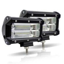 LED voiture travail lumière Bar 5 pouces 72 W double rangée 6000 K Offroad 4x4 conduite lumière 12 V brouillard lumière pour tracteur camion bateau UTV SUV lampes