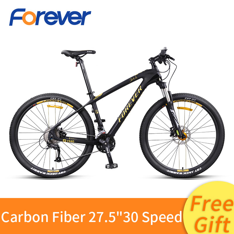 Carbon Fiber Mountain Bike 27/30 Speed Off Road Bike 27.5 Inch Variable Speed Bicycle Front Rear Hydraulic Disc Brake MTB Bike