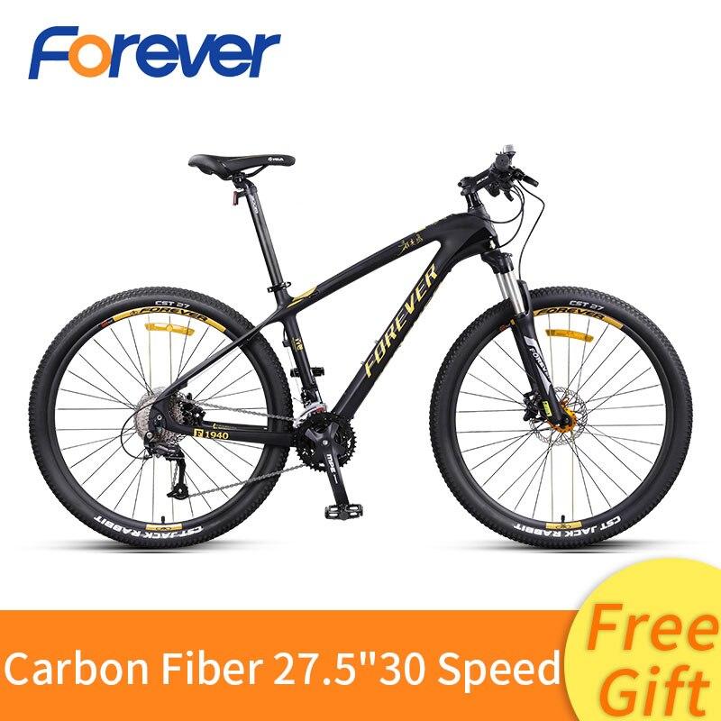 Fibra De carbono Mountain Bike 27/30 Velocidade fora de Estrada de Velocidade Variável de Bicicleta 27.5 polegada Frente Bicicleta MTB Freio a Disco Hidráulico Traseiro bicicleta