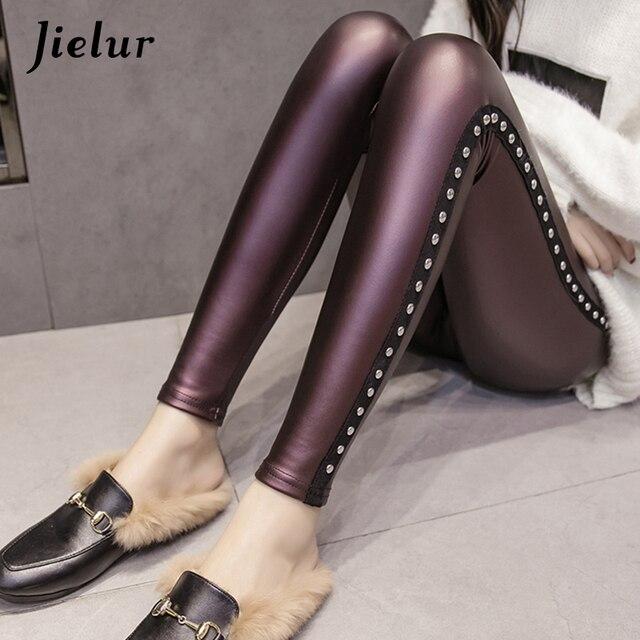 Jielur Winter Fleece Matte PU Leather Leggings Women Fashion Rivets Push Up Pencil Pants 4 Colors S-XXXL Lady High Waist Legging 6