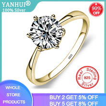 YANHUI Classic Six Claw Gold Color Ring 6mm Zirconia Wedding Rings for Bridal Christmas Gift for
