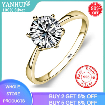 YANHUI Classic Six Claw Gold Color Ring 6mm Zirconia Wedding Rings for Bridal Christmas Gift for Women Jewelry Engagement Ring
