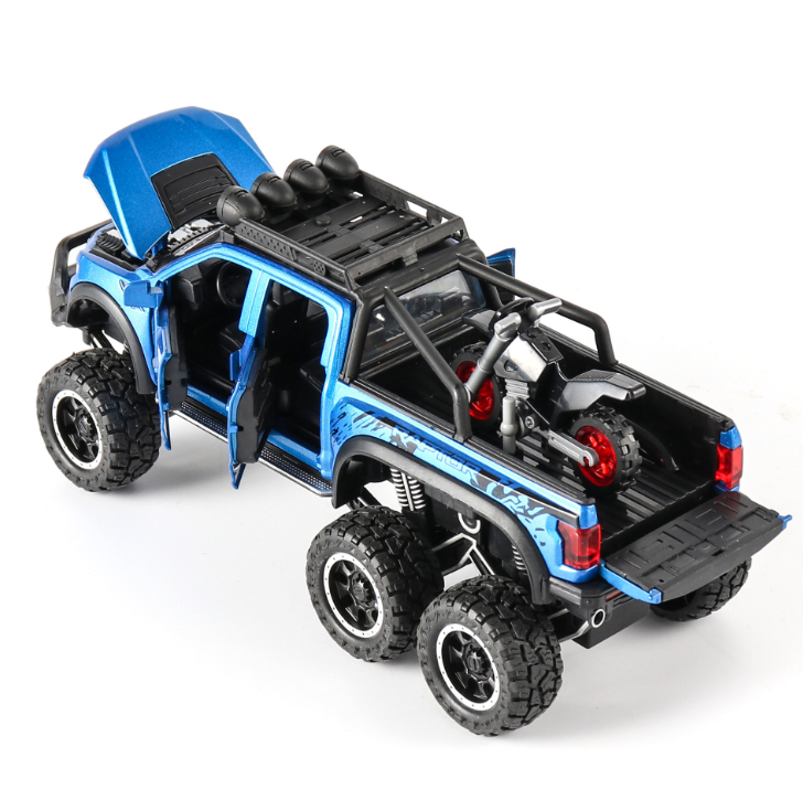 New 1:32 Ford Raptor F150 Big Wheel Alloy Diecast Car Model With With Sound Light Pull Back Car Toys For Children Xmas Gifts 2