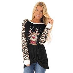 Милая Рождественская леопардовая футболка с длинными рукавами и принтом оленей, толстовки для женщин, женские свитера, топы