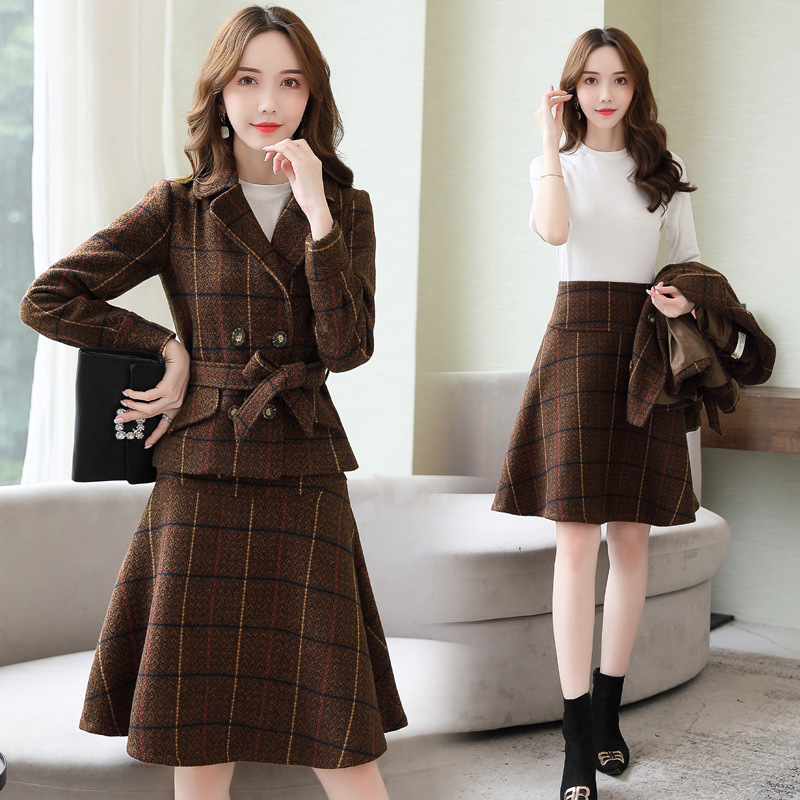Autumn Winter Woman Jacket Skirt Suits 2 Piece Set Clothing for Women Double Breasted Blazer Skirt Suit Female Casual Outfits